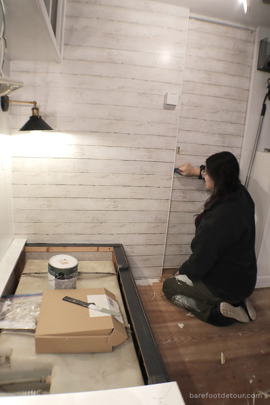 faux shiplap wallpaper installation RV