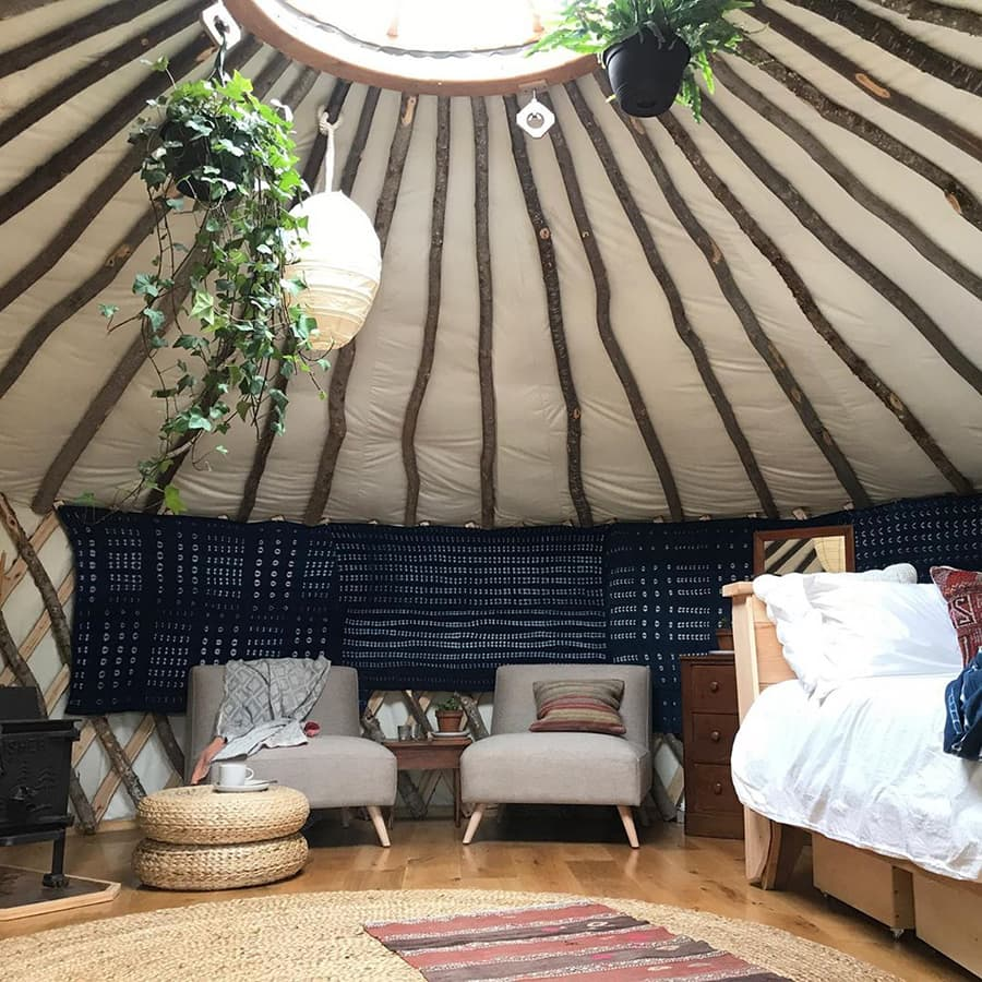 inside Vermont yurt