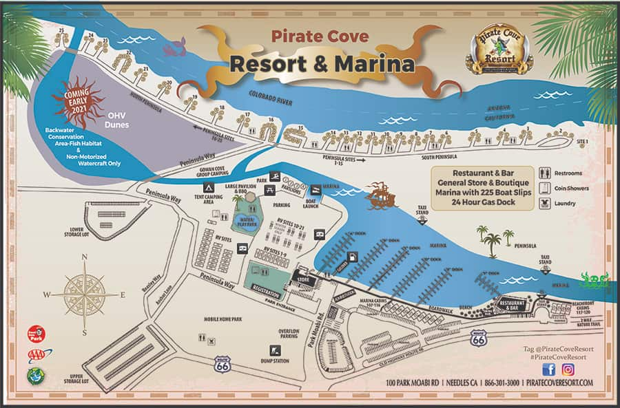 pirate cove rv camping map