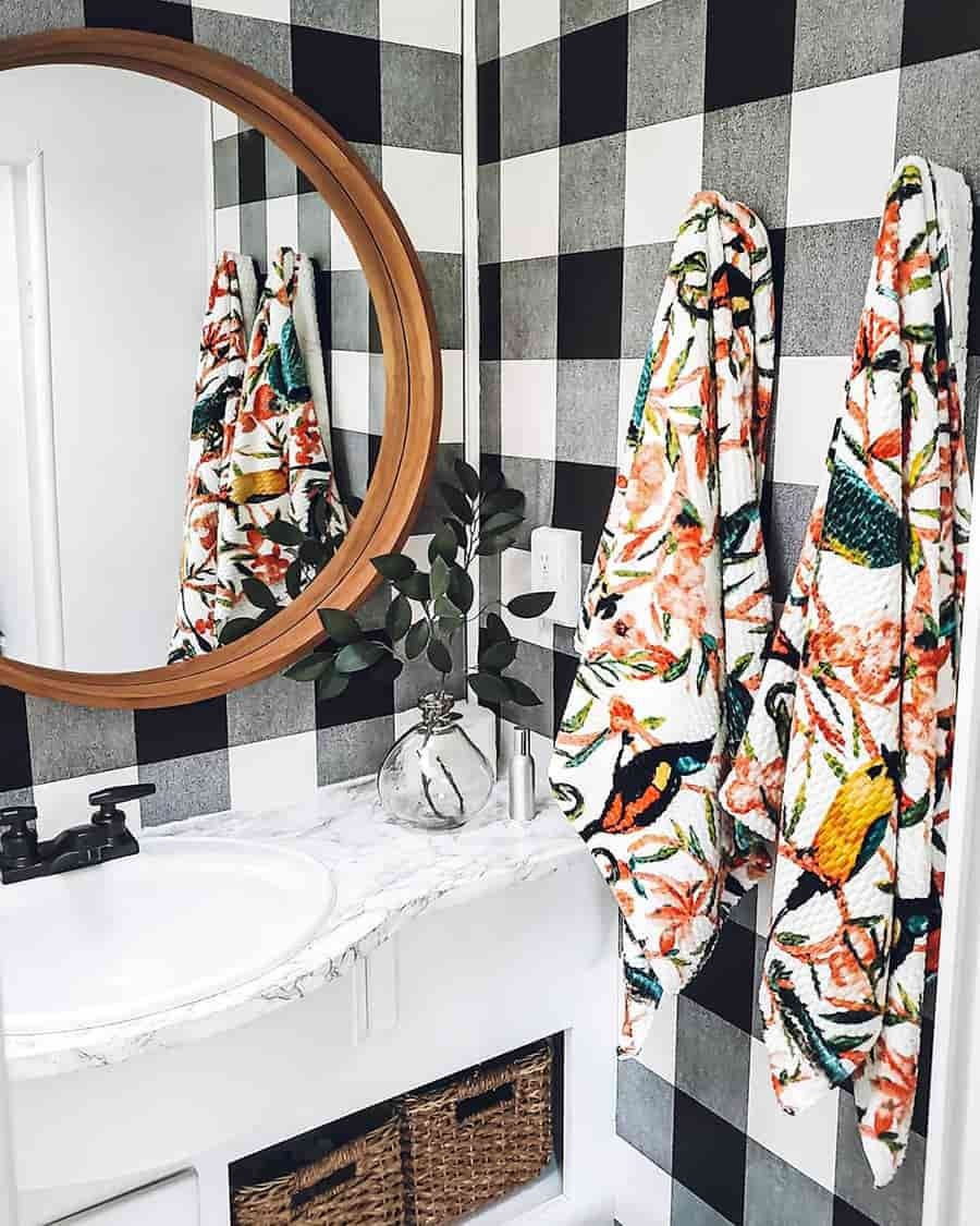 rv bathroom buffalo plaid