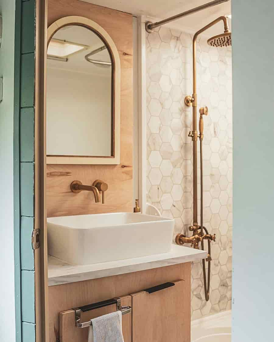 rv bathroom mid century ideas