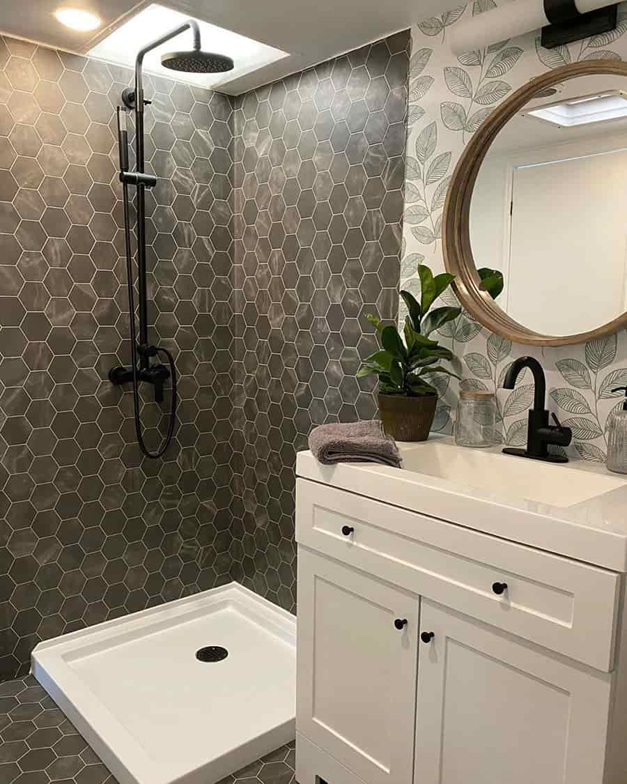 rv bathroom shower reno