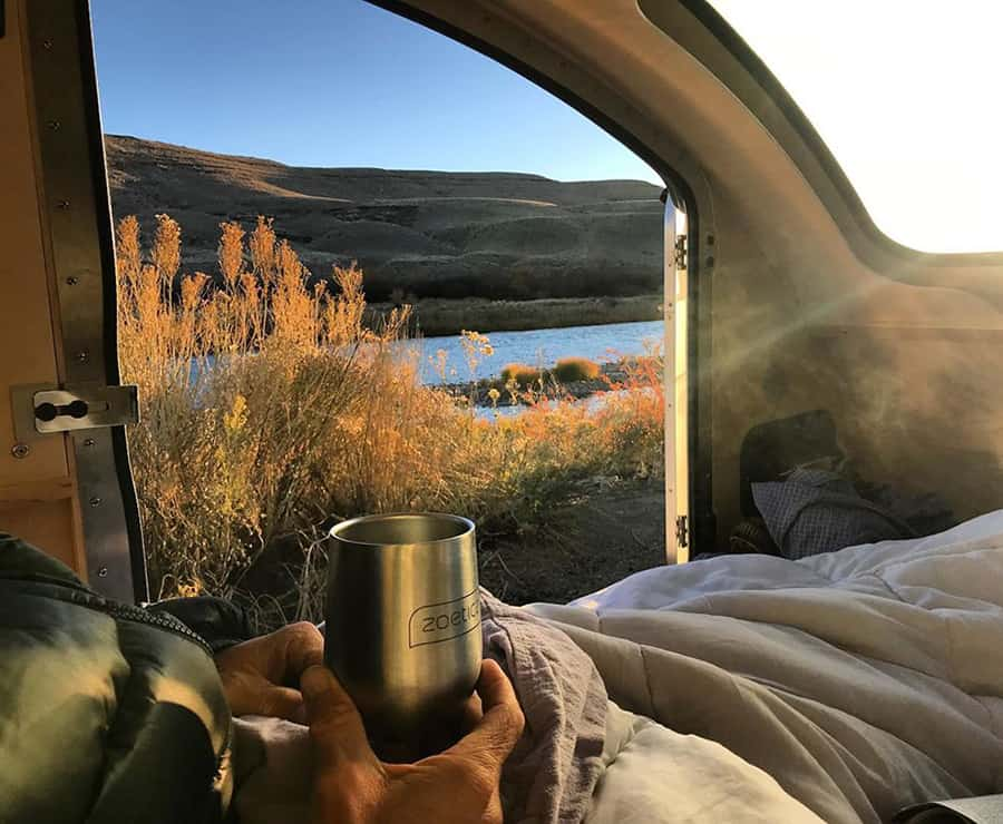 camping on a vistabule teardrop camper