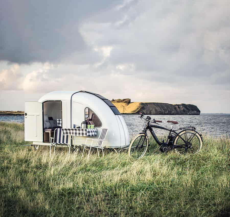camper with bicycle