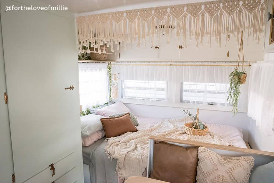 bohemian rv renovation bedroom