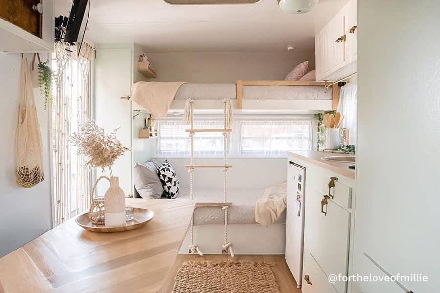 bohemian rv renovation bunk bed