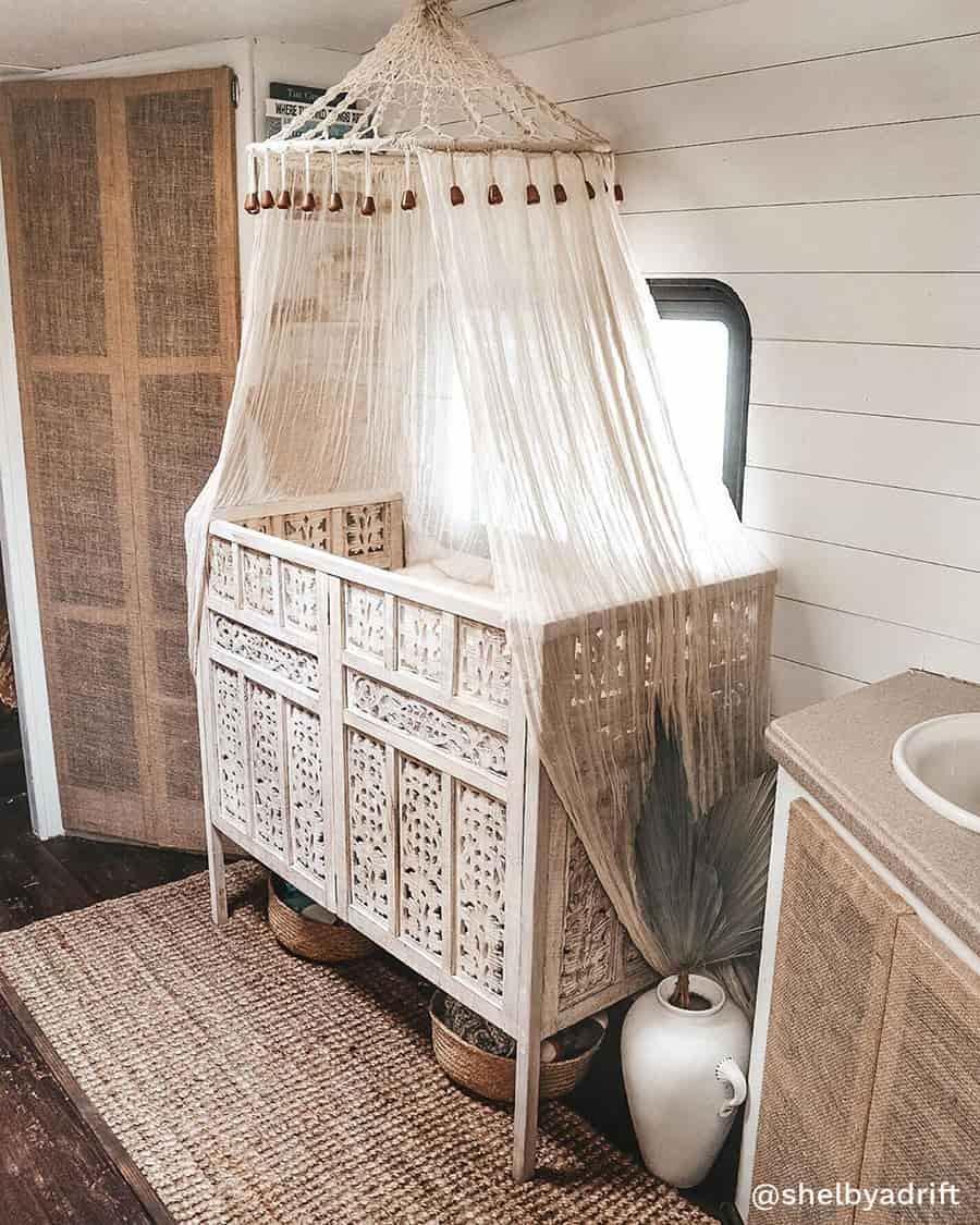 boho camper baby crib