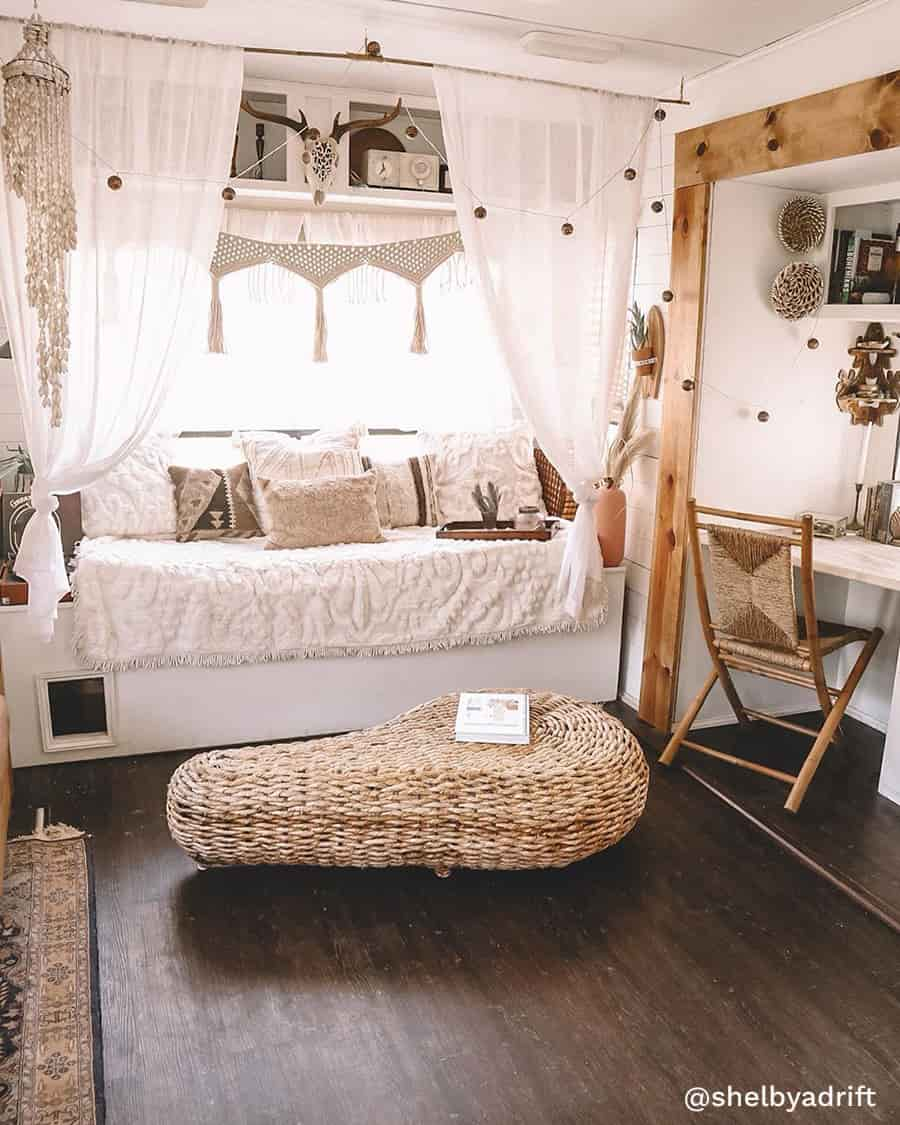 boho camper living room