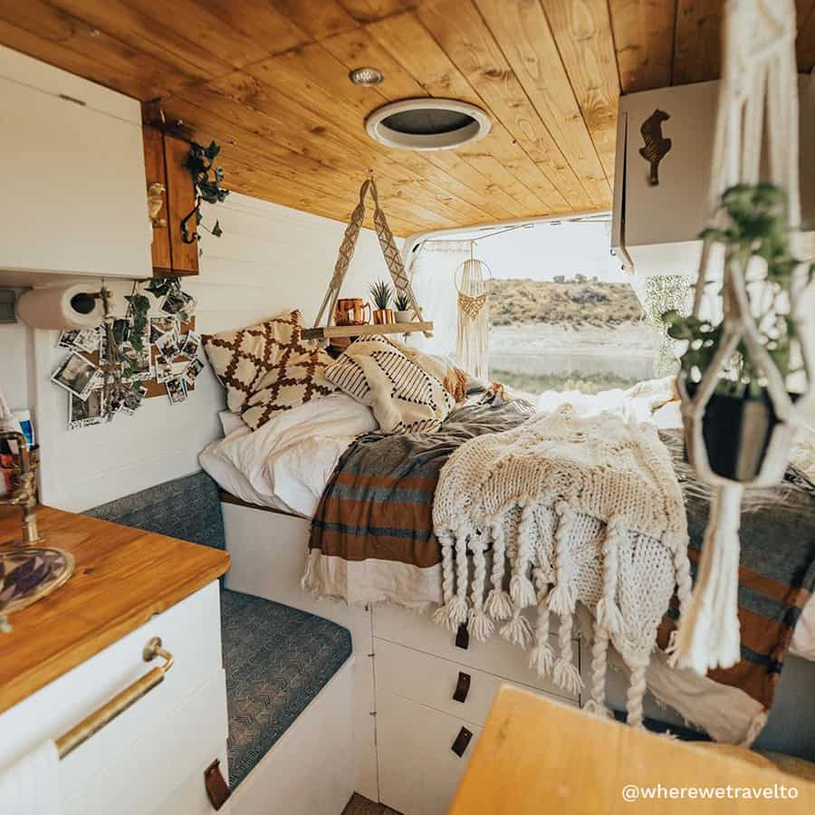 boho camper van renovation