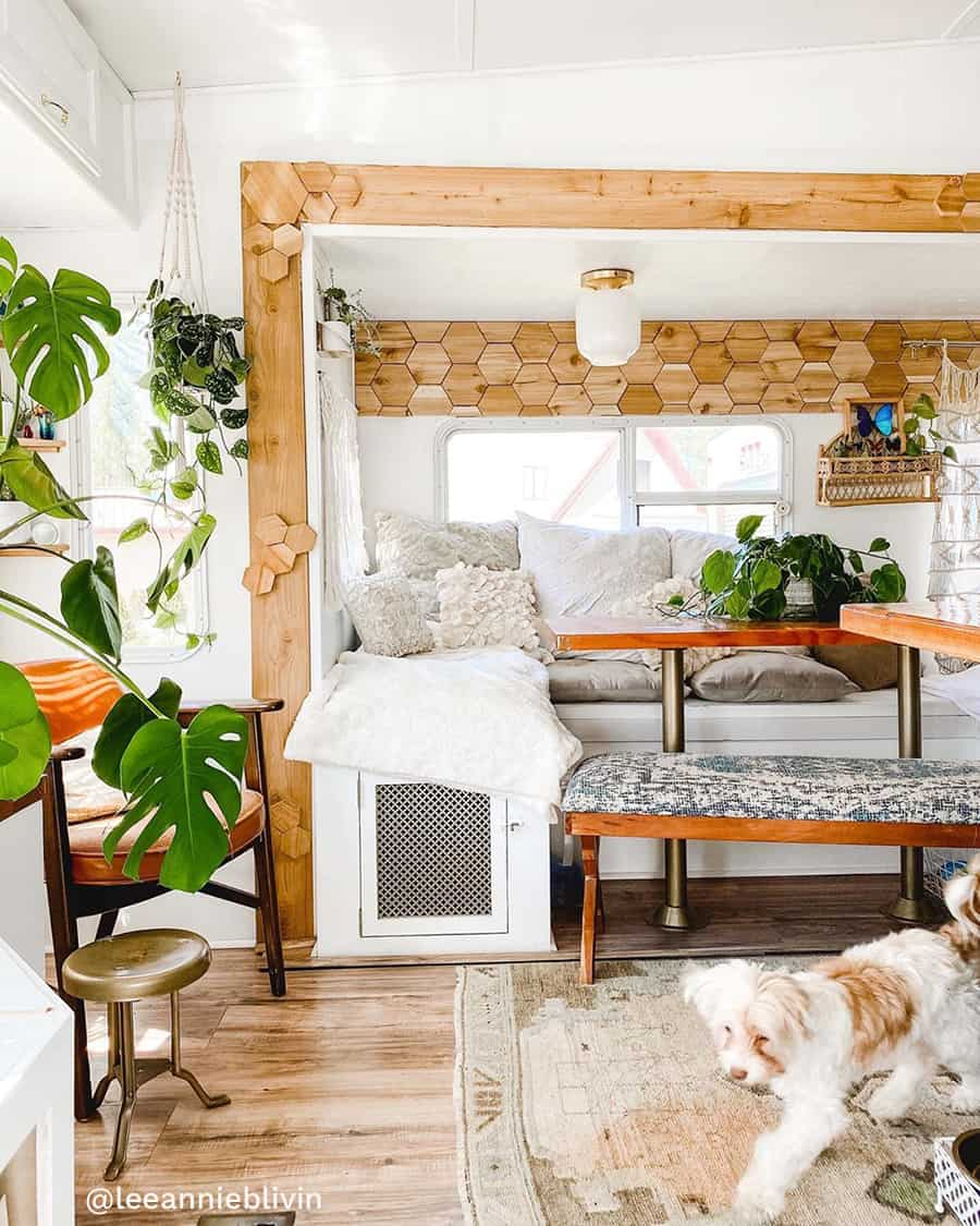 boho rv renovation dinning area