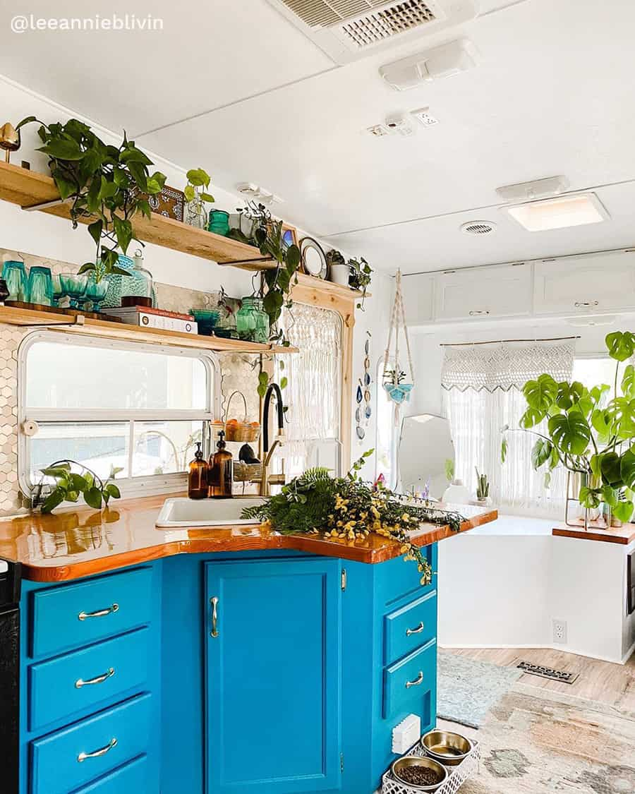 boho rv renovation bold kitchen