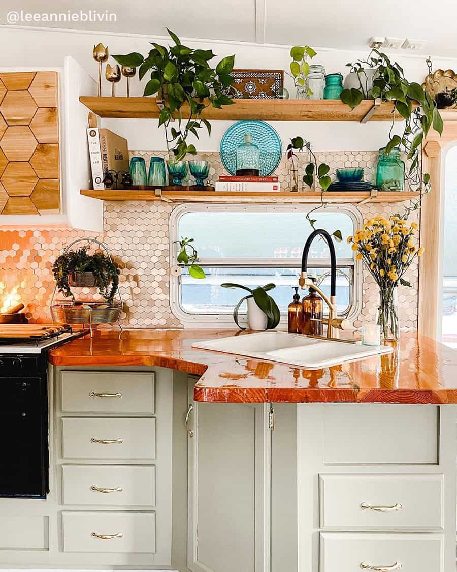 boho rv renovation kitchen