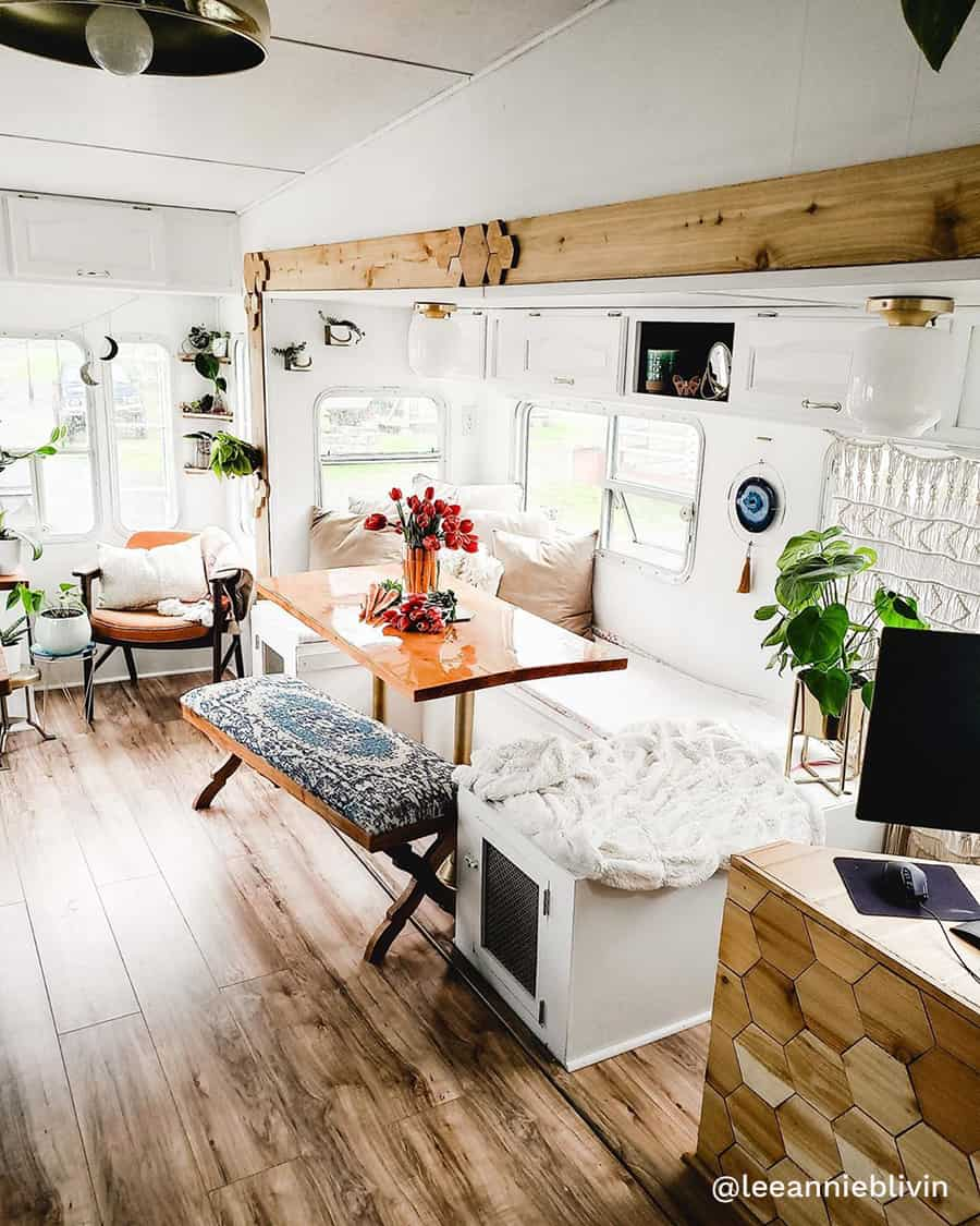 boho rv renovation living room