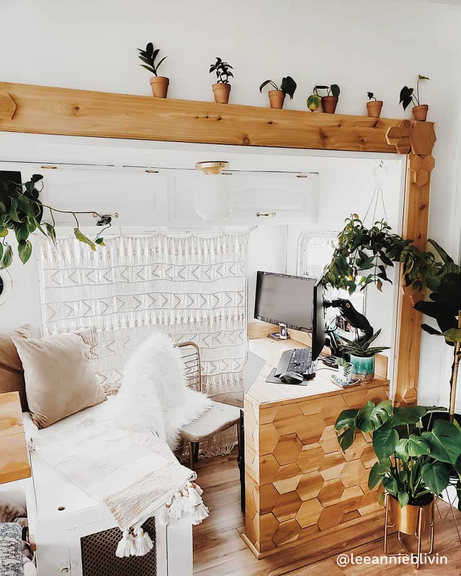 boho rv renovation home office
