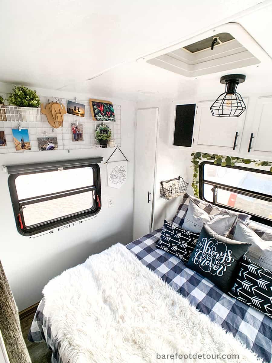 modern bedroom camper renovation