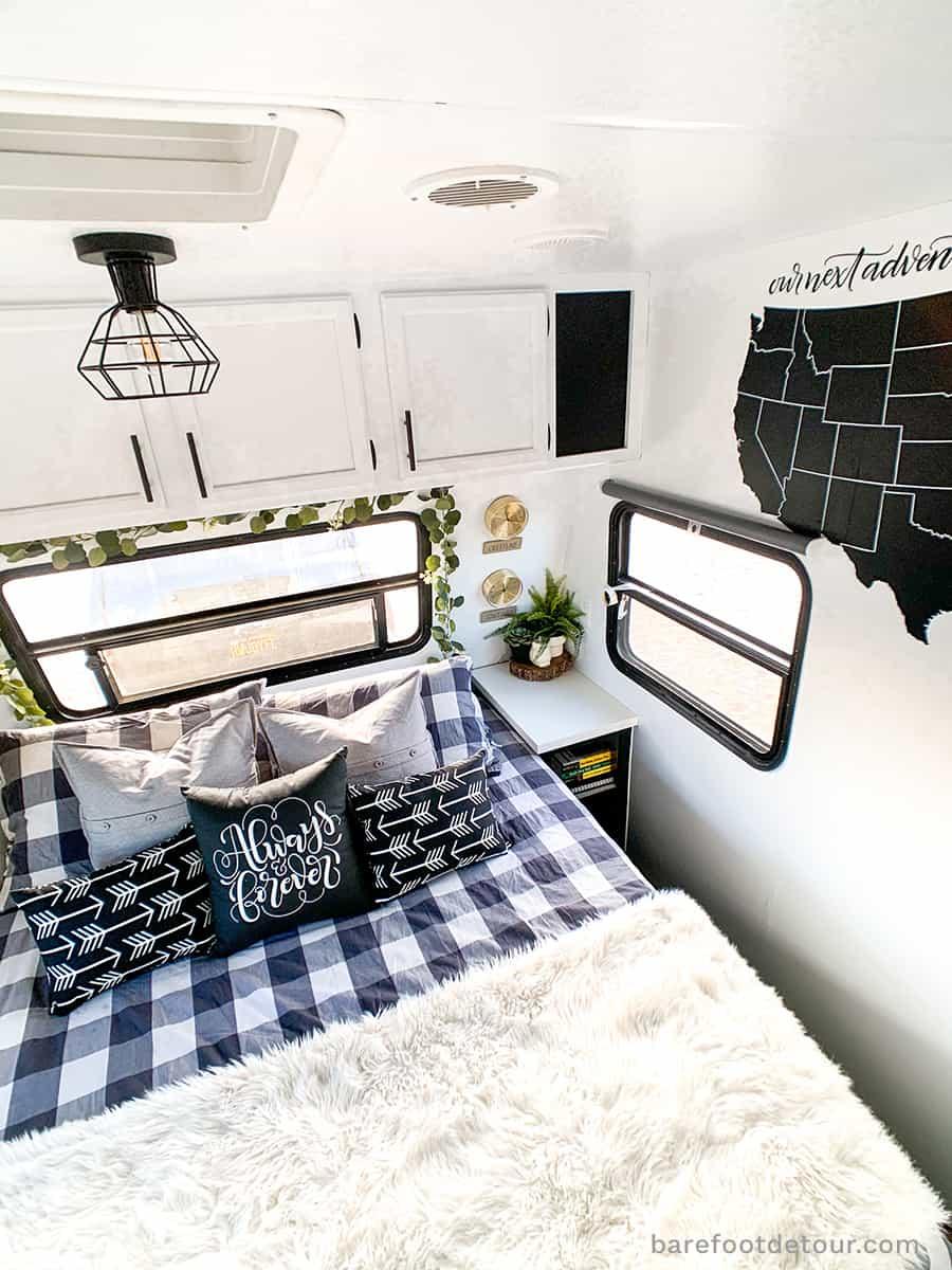 modern rv renovation bedroom