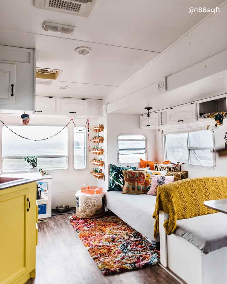 rv boho remodel living room