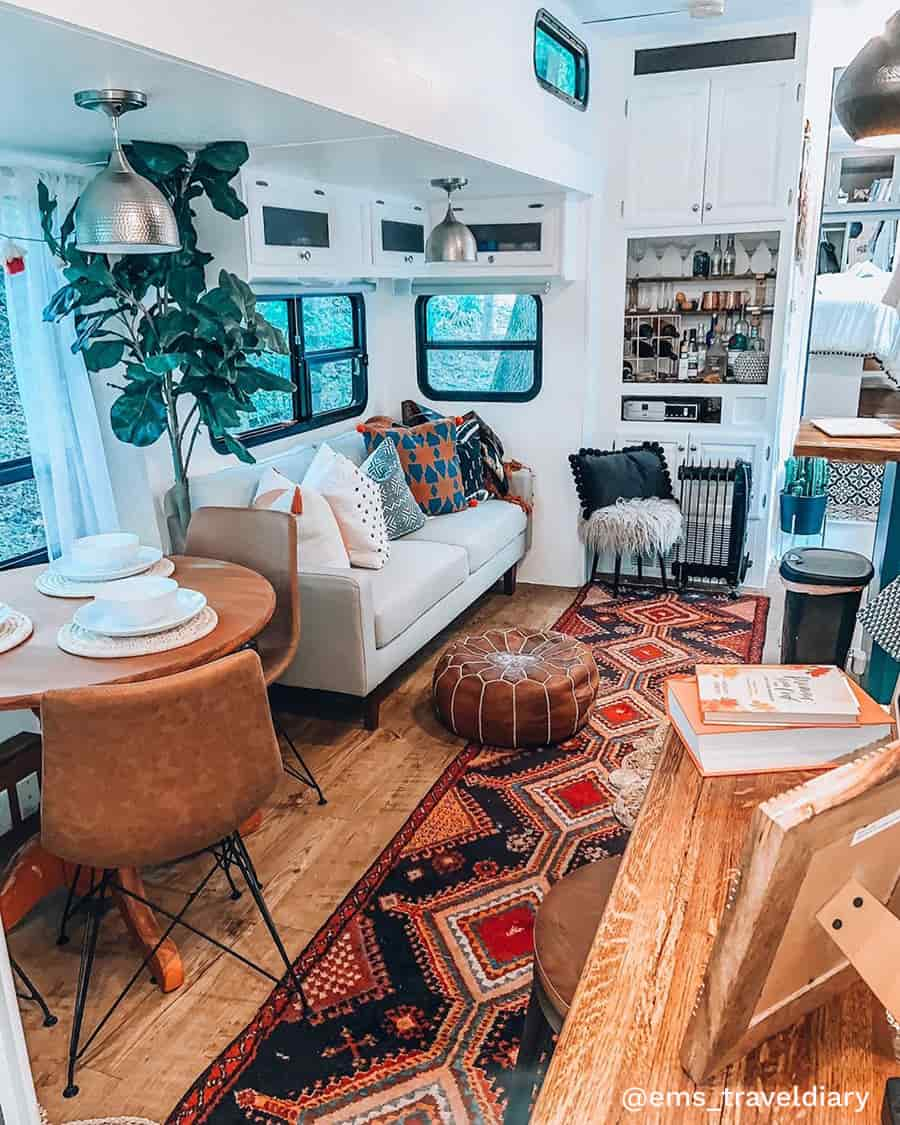 rv renovation boho living room